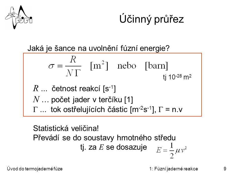 Účinný průřez R ... četnost reakcí [s-1] N … počet jader v terčíku [1]